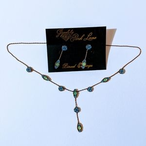 Blue necklace and earrings set